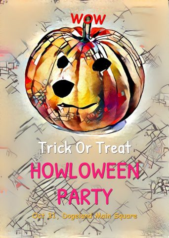Halloween party poster depicting a Doge like Jack-O-Lantern. Caption: Trick or Treat. Howloween Party. October 31st. Wow.