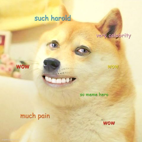 Hide The Pain Doge: Doge but he has eyes and face of hide the pain Harold. Wow.