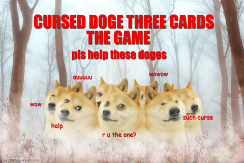 Cursed Doge Three Cards The Game. Cursed doges waiting for you in the Enchanted Forest. Pls help these doges. Wow.