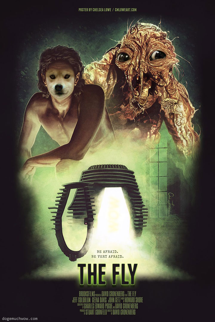 The Fly poster but Doge is playing the main role. Got insected. Very fly. Wow.