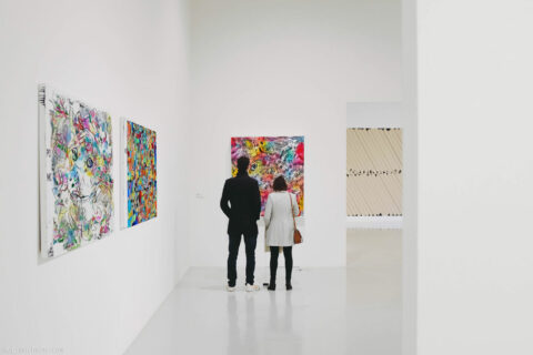 """People contemplating """"Doge Hidden In Plain Sight"""" gallery exhibition. Such art. Wow"""