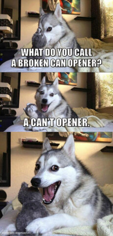 Pun dog meme: What do you call a broken can opener? A can't opener. Wow.