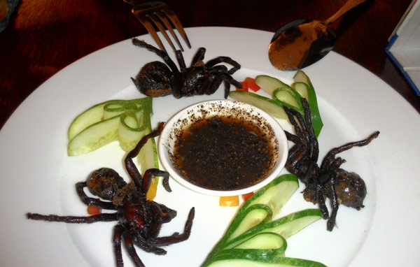 Cursed Food Image: 3 fried tarantulas with sauce on a plate. Much exotic. Wow.