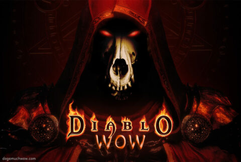 """Le Prime Evil Doge has arrived in Diablo Wow. Demonic doge figure with glowing eyes behind burnind """"Diablo"""" text. Wow."""