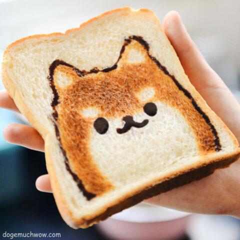 Shiba face on a toast. Looks very crunchy. Wow.