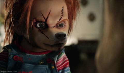 Cursed Doll Image: Red haired Chucke with scars on face.