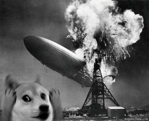 Doge watching Hindenburg disaster. Such zeppelin. Wow.